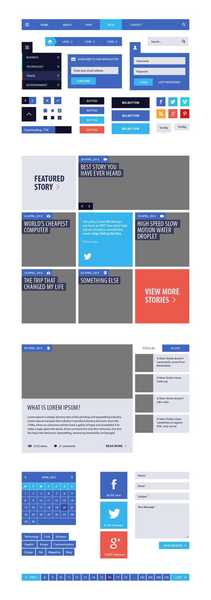 蓝色的网页扁平化ui界面设计_网页元素PSD分层素材