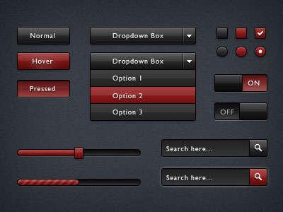 黑色和红色的网页表单元素设计PSD分层素材