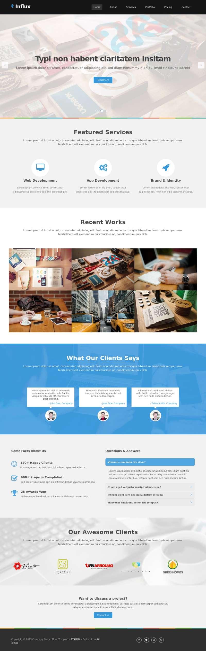黑色宽屏的商务公司企业模板html下载