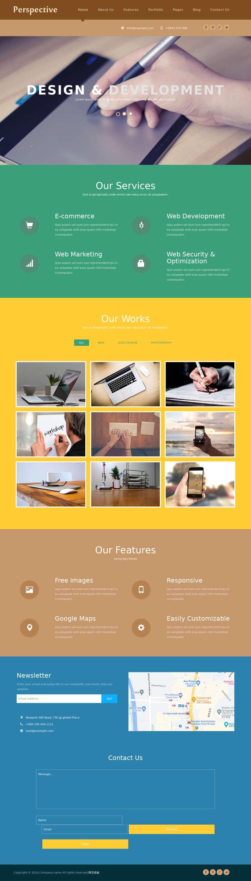 扁平风格的广告设计公司静态模板下载