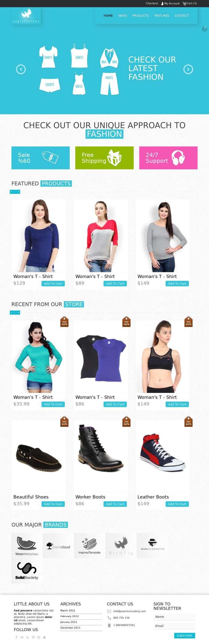 国外响应式服装购物商城网站html5模板