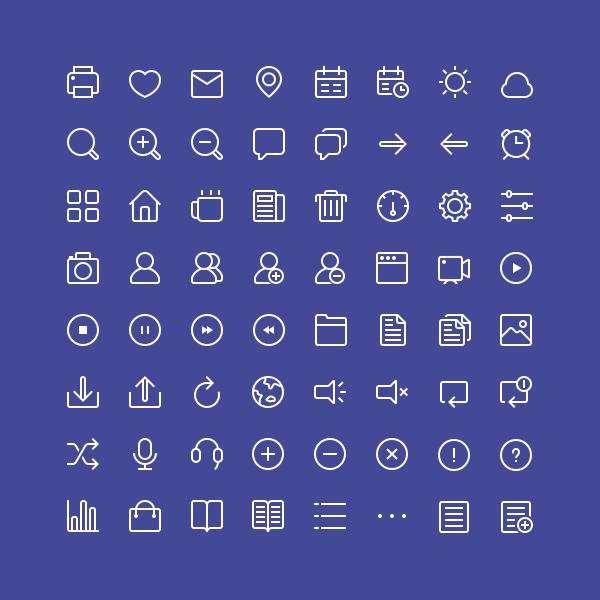 白色线性的用户功能小图标集素材
