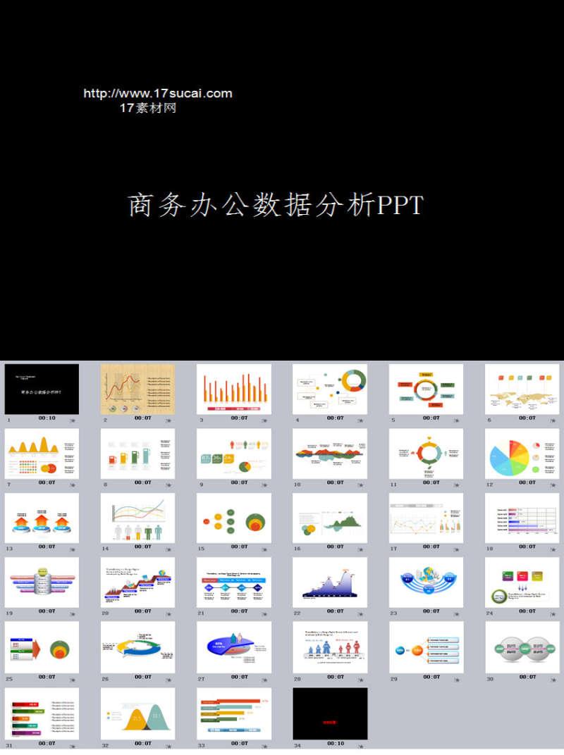 通用商务办公数据分析PPT图表模板下载