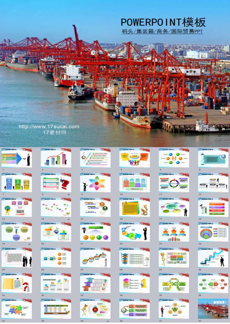 实用的物流集装箱商务贸易PPT模板下载