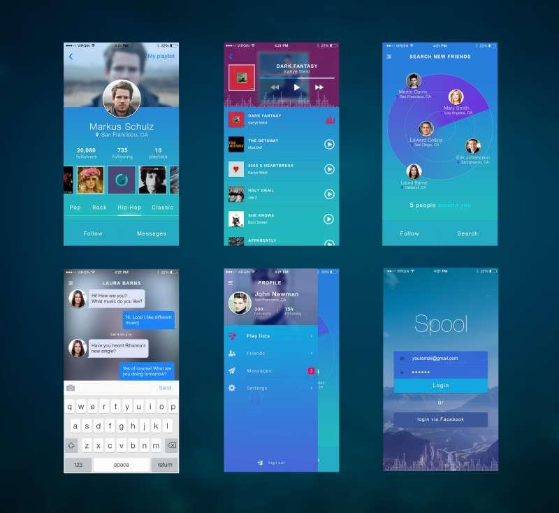 扁平化的音乐社交app界面设计模板