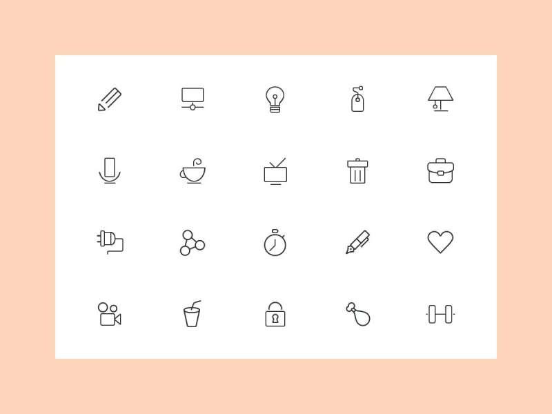 黑色简洁线性手机页面图标素材下载
