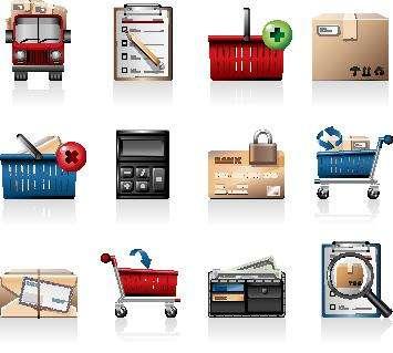 精美立体的电子商务商城购物图标素材下载