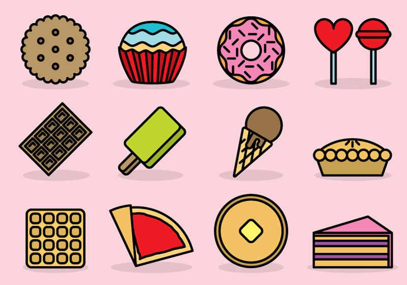 可爱卡通零食甜品图标ai素材下载图片