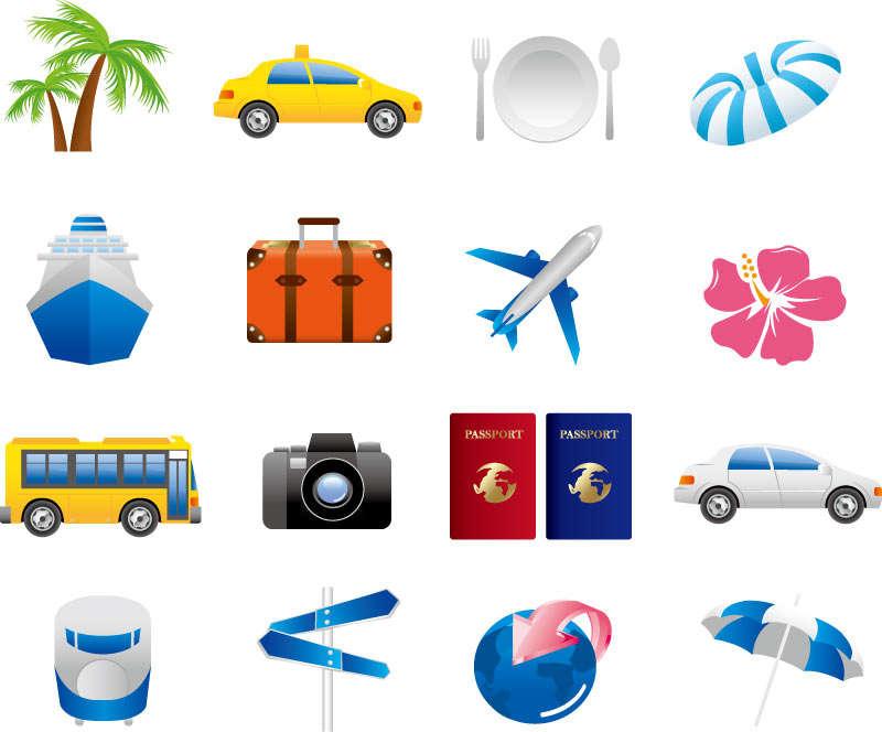 精美休闲的国外度假旅游图标素材