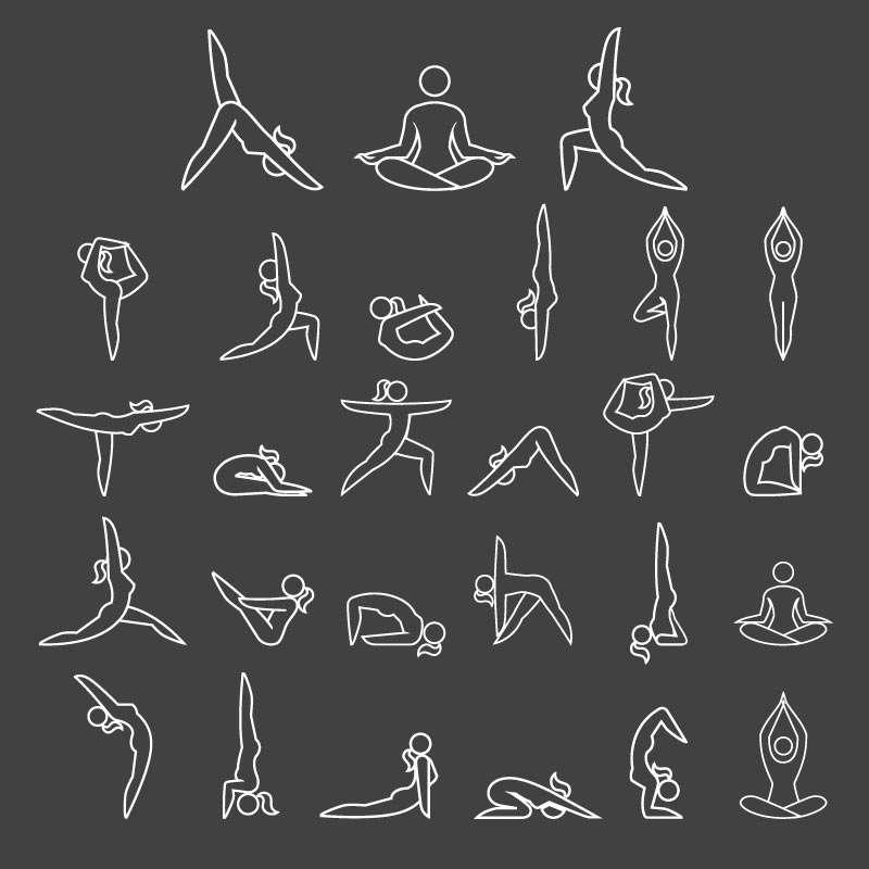 各式线条型的瑜伽动作图标集素材下载