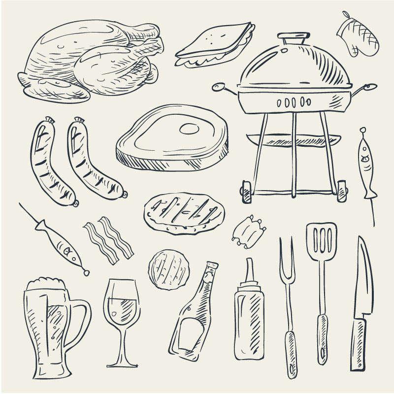 创意素描手绘野炊烧烤图标素材下载