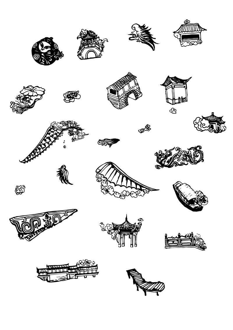黑色手绘的中国传统文化图标素材下载