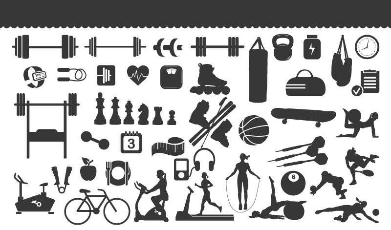 黑色扁平化健身房运动器械图标大全素材