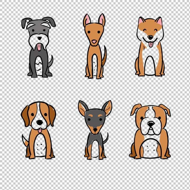 六种可爱卡通的免抠小狗图标素材