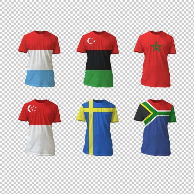 六种国家国旗图案运动T恤衫衣服图标素材
