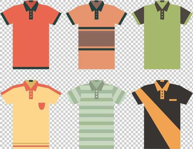 六种时尚欧版的T恤短袖衣服图标素材