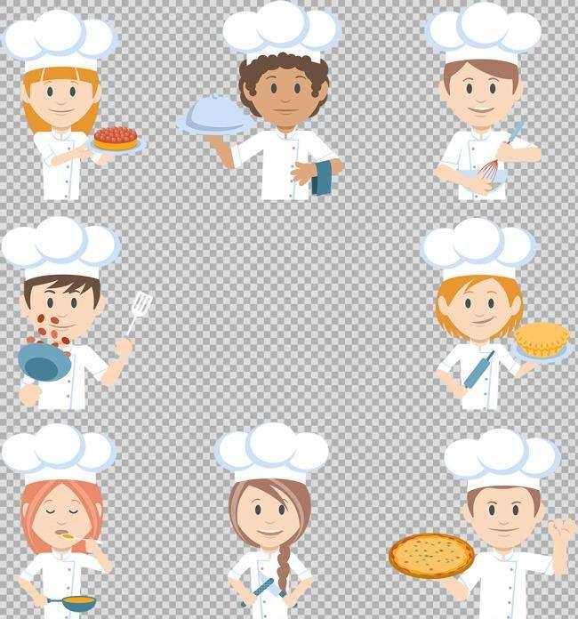 卡通的厨师厨娘头像图标素材下载