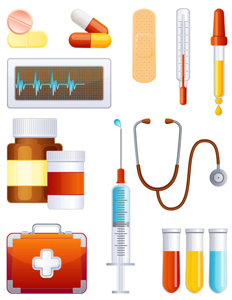 精美常见医疗就诊器械工具图标素材