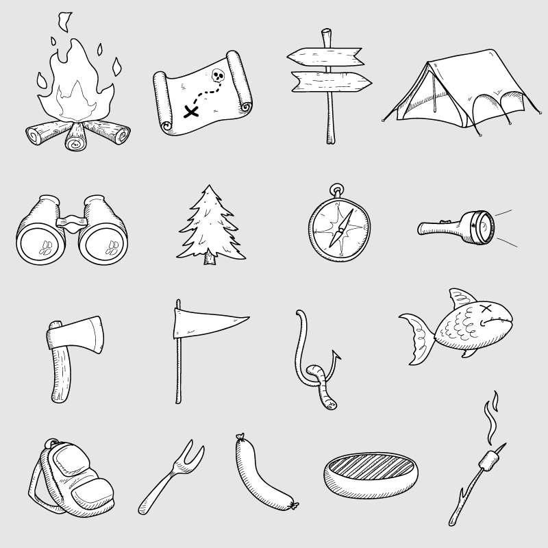 17款手绘野营图标大全AI素材