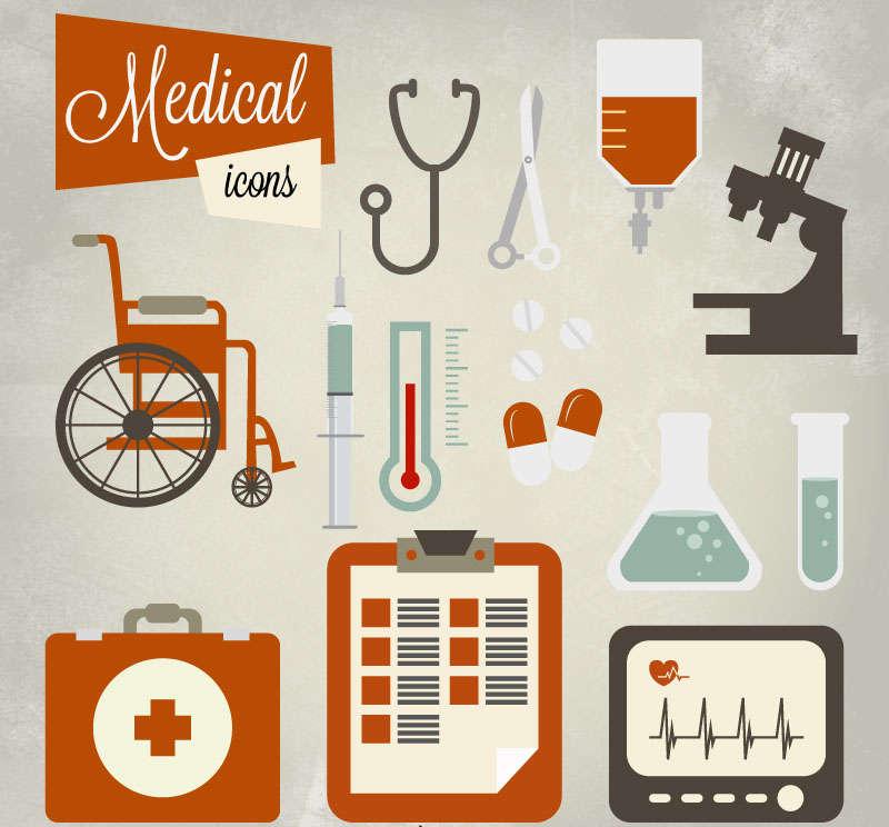 复古医疗工具图标素材下载