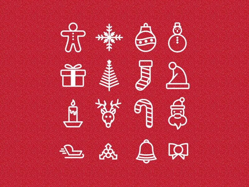 白色线性的圣诞节图标大全AI素材