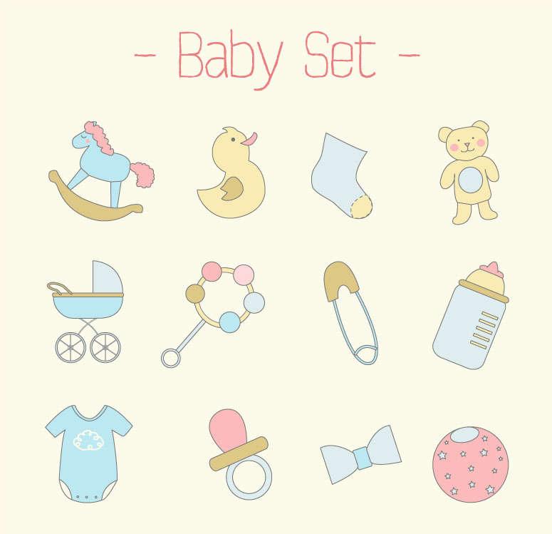 卡通婴儿用品图标大全AI素材
