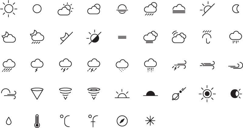 简易的线性气象图标大全AI素材