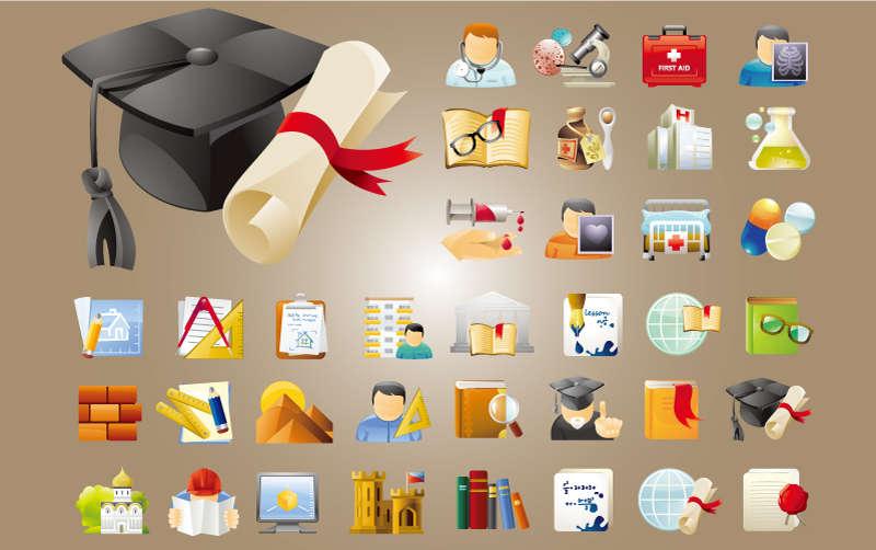 精美教育与科学图标素材下载