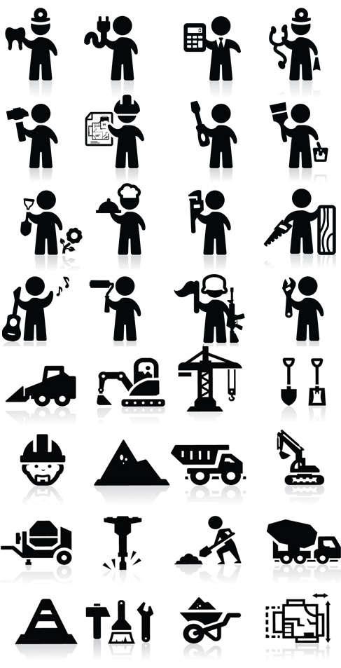 黑色剪影的施工人物图标大全AI素材