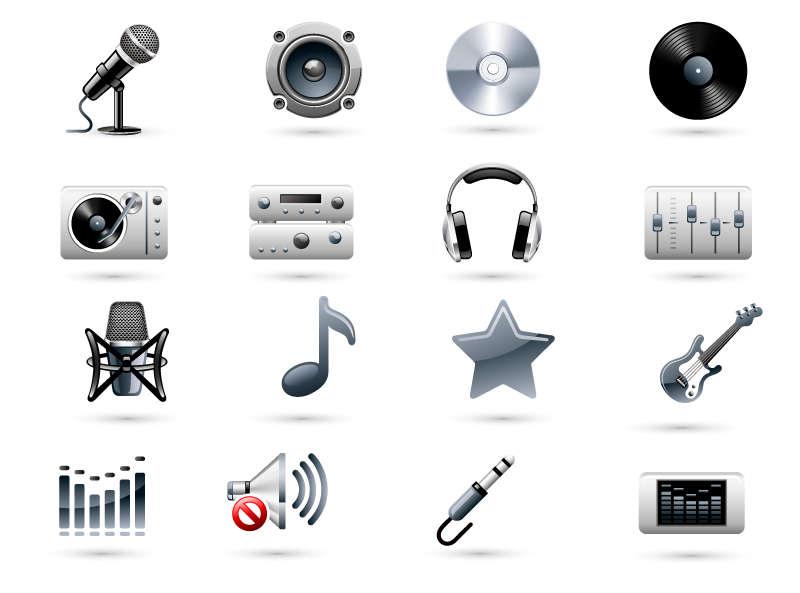 精美音乐设备图标素材AI下载