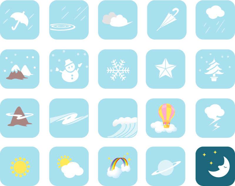 卡通风格的天气预报图标素材