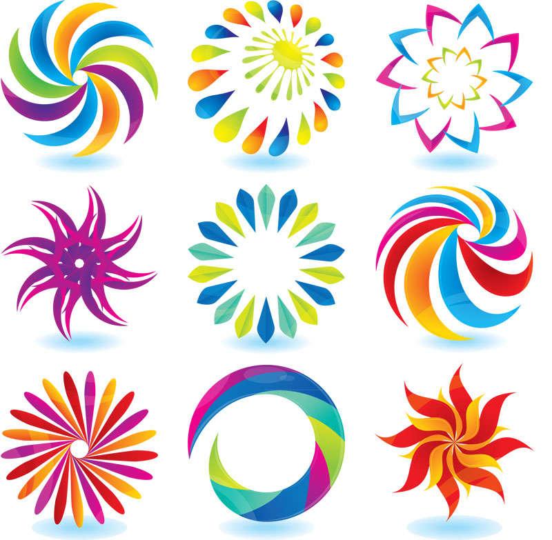 绚丽的七彩花朵图标素材下载