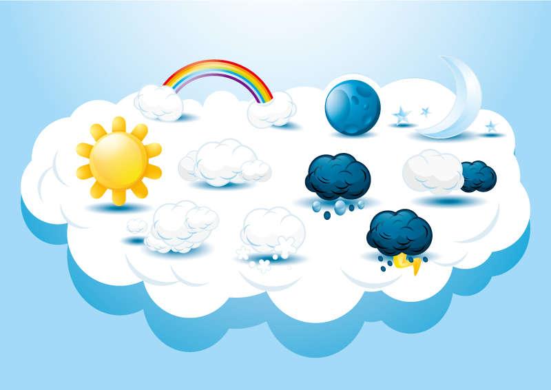 卡通创意的天气图标素材下载