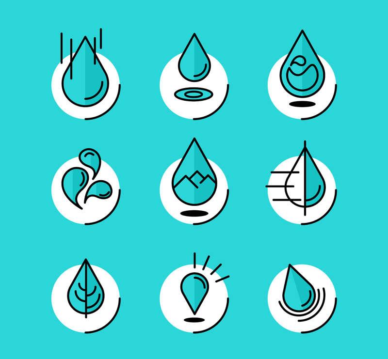 卡通创意各种水滴图标素材下载