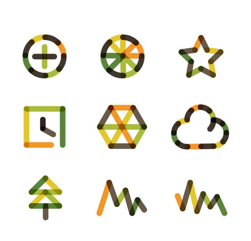 创意的拼色标志图标AI矢量素材