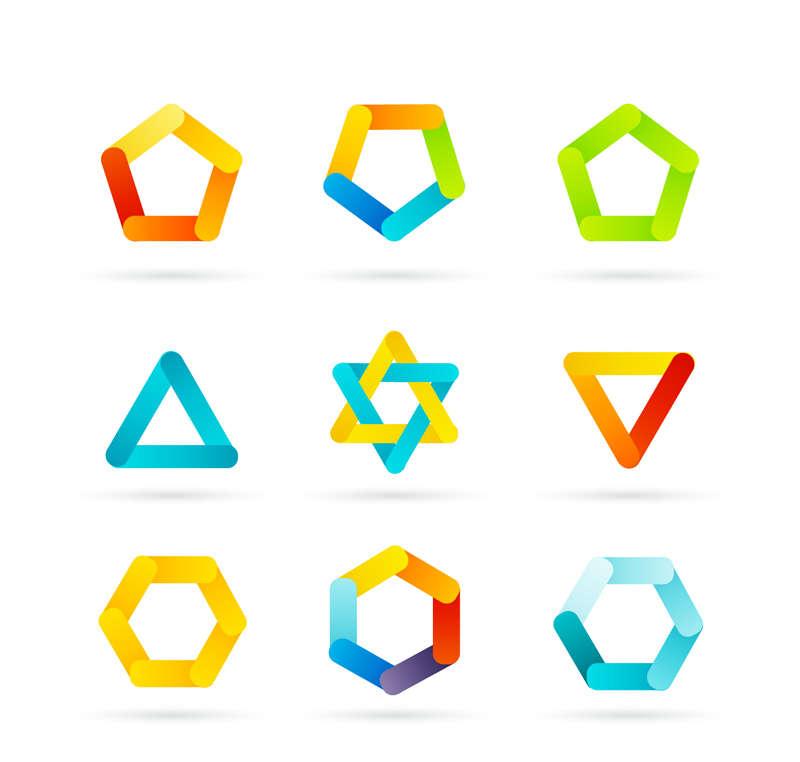 彩色的三角形状图标素材AI下载