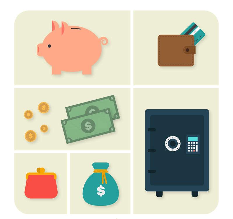 卡通的银行储存金融图标素材下载
