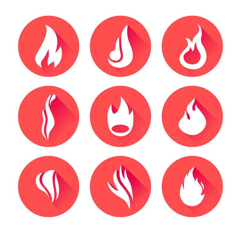精美圆形的火焰图标AI矢量素材
