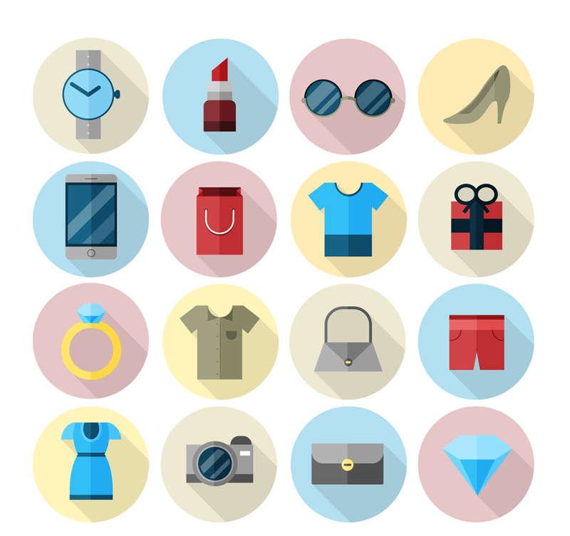 生活图标素材_扁平风格时尚生活用品图标大全AI素材