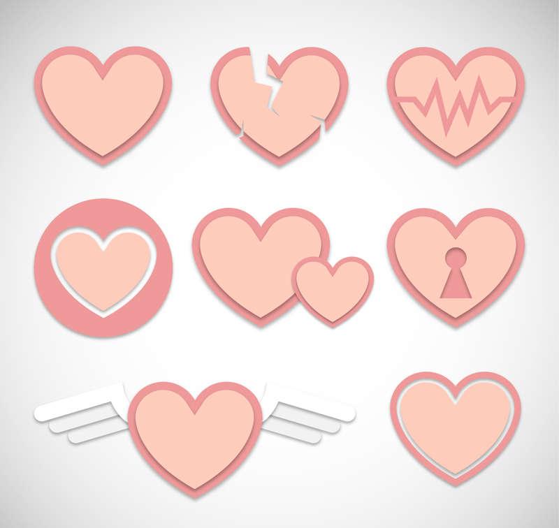 可爱粉色的爱心设计图标素材下载