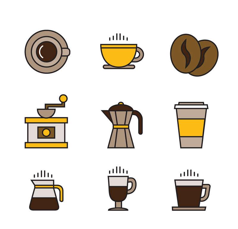 9种创意的咖啡店图标集AI素材