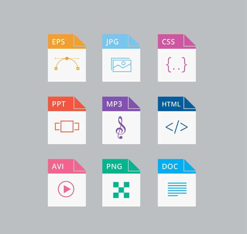 简洁的折角常用文件格式图标AI素材