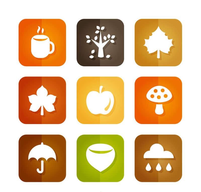 方形的秋季自然图标素材AI下载