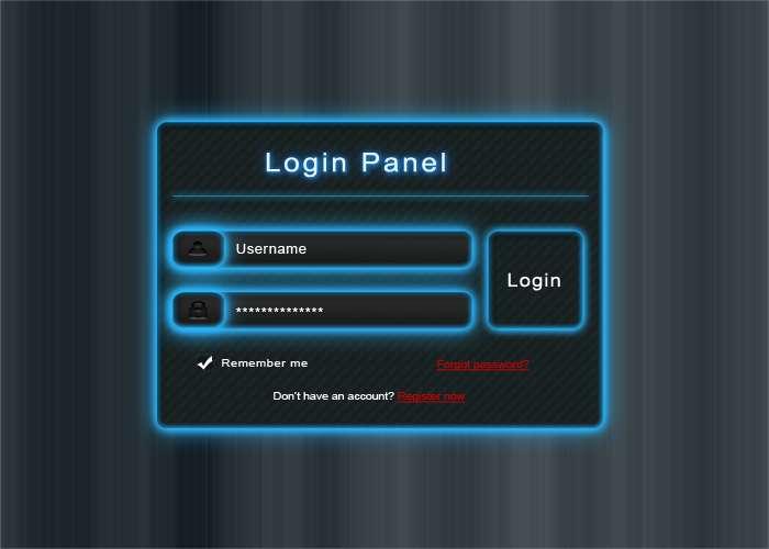 发光金属质感的ui登录界面设计_PSD面板发光登录界面设计