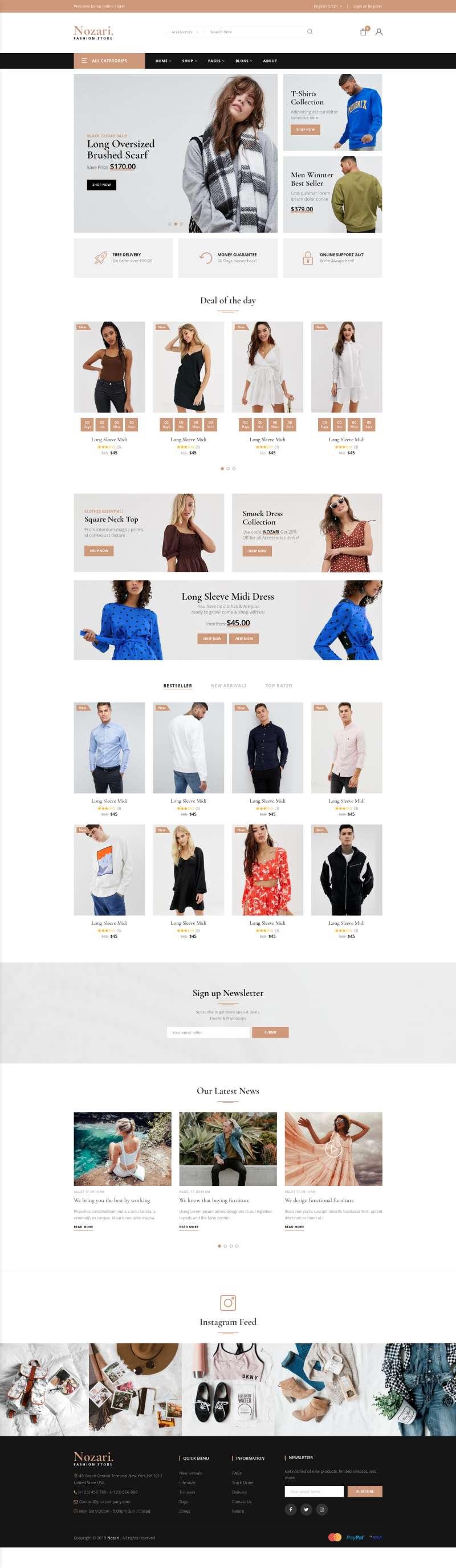 實用的時裝購物商店網頁模板