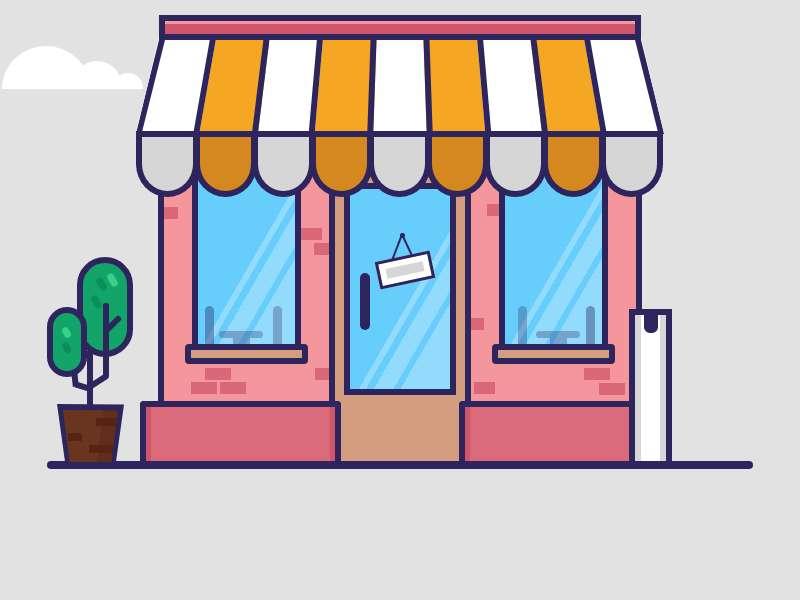 卡通的咖啡屋插图ui特效