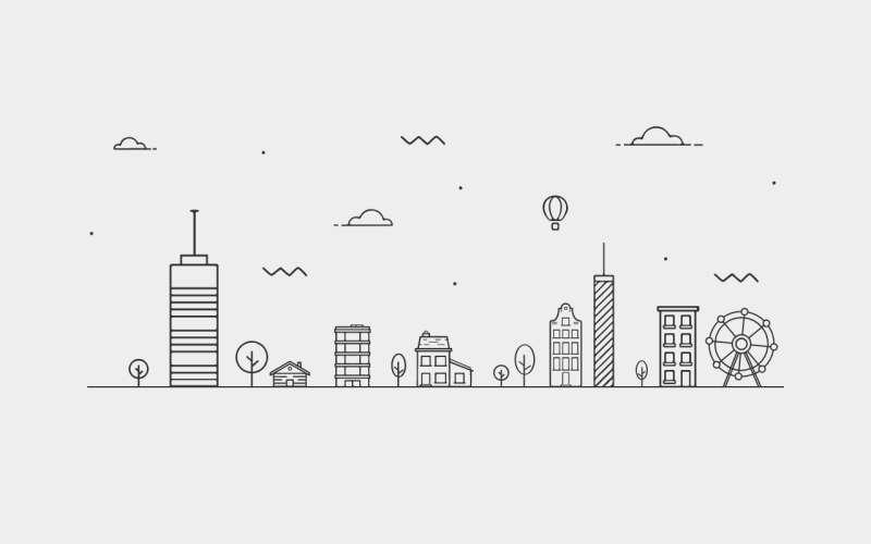 矢量的城市建筑视差动画特效