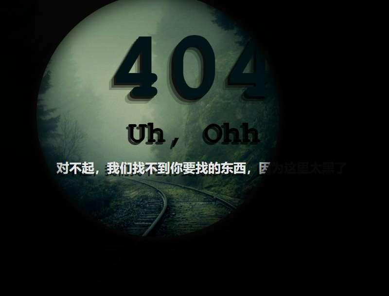 創意的黑夜光圈404提示頁面