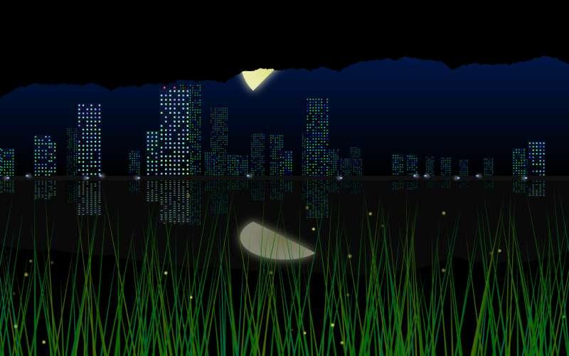 灯火通明的城市夜景场景特效