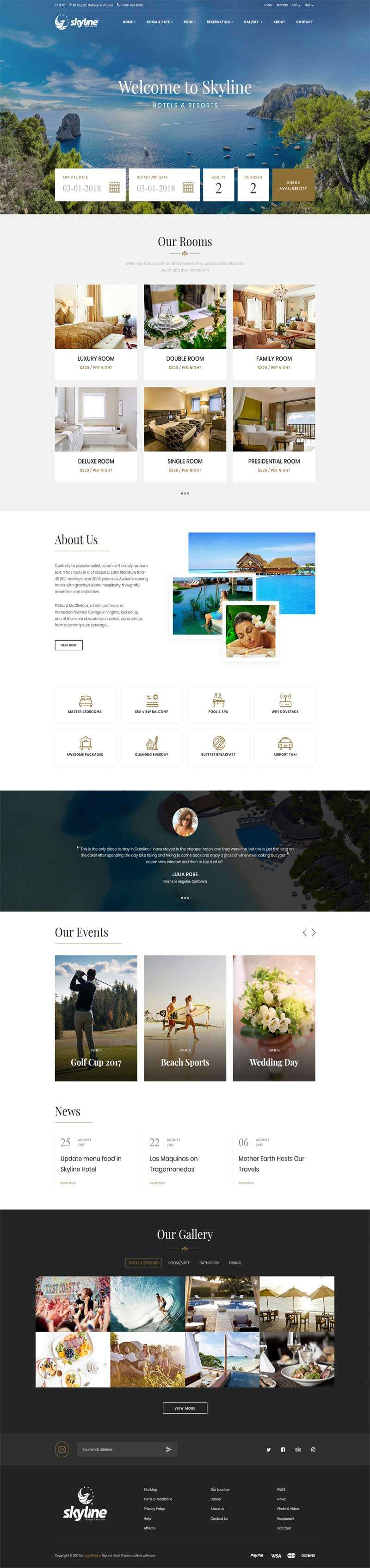 大气的在线度假酒店预订网站模板html下载